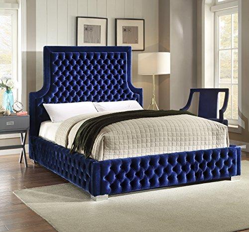 Meridian Furniture SedonaNavy-K Sedona Velvet Upholstered Bed with Deep Button Tufting and Custom Chrome Legs, King, Navy