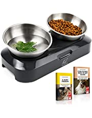 KatSupreme Tilted Cat Food Bowls - Elevated Cat Bowls, Anti Vomiting Cat Bowl Set, Stainless Steel Cat Bowls, Cat Food Bowls Elevated, Raised Cat Bowls for Indoor Cats, Orthopedic Cat Bowl