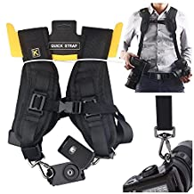 Quick Release Double Dual Camera Shoulder Strap Harness,Adjustable Dual Camera sling Camera Neck Strap With Dust Brush And Dust Blower Ball