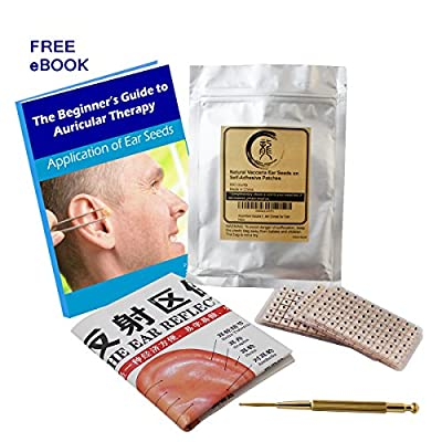 Multi-Condition Ear Seed Kit 600 counts, eBook Placement Chart, Probe, Acupuncture Ear Chart