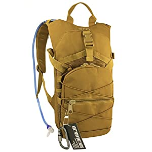 Hydration Backpack Tactical Rucksack Run-pack with 3 Liter/100 oz Reservoirs Water Bladder Bag for Hiking, Running, Camping, Climbing, Cycling, Walking, Hunting (Tan)