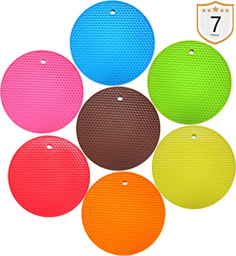 HeyWin Lucky 7pcs Pot Holders Silicone Trivets Food Safe Mats, Heat Resistant and Dishwasher Safe, Jar Opener Gripper for Hot Dishes or Table Countertops Pots and Pans