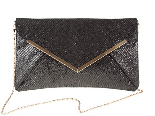 Glitter Shimmer Bridal Handbag Evening Black Clutch Purse Womens Party Metal Flat Envelope Prom Trim YgpPqwE5