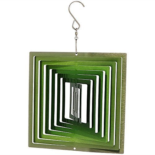 Sunnydaze Decor Square Wind Spinner with Hanging Hook, Metal 3D Emerald Green, 6 Inch - for Outdoor Garden, Yard, and ()