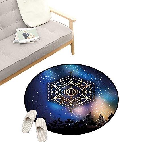 (Sacred Geometry Home Decor Area Rug Hexagon Form with The Eye Icon in The Centre on Starry Night Mystic Image Quick and Easy to Clean D51 Gold Blue)