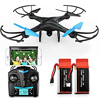 Force1 U45W Drone with Camera for Adults - Remote Control FPV Drone, VR Compatible with 720p HD WiFi Drone Camera and 2 Drone Batteries
