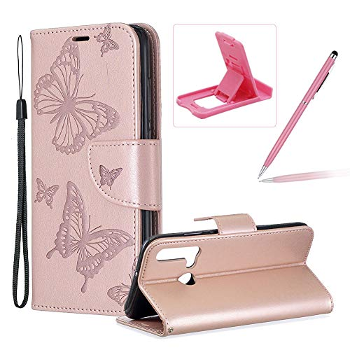 Herzzer Strap Leather Case for Huawei P20 Lite 2019,Wallet Cover for Huawei P20 Lite 2019, Elegant Rose Gold Butterfly Print Relief Magnetic Stand Case with Soft TPU ()
