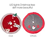 "Marry Acting 36"" Non-woven Christmas Tree Skirt with LED Lights, 3D Santa Snowman Deer Snowflakes Tree Mat for Xmas Party Home Decoration"