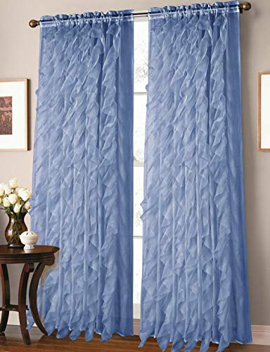 GorgeousHome Cascade 1pc Rod Pocket Top Panel Fashionable Multilayered Soft Crushed Sheer Fabric Window Curtain Vertical Ruffles Drape 55