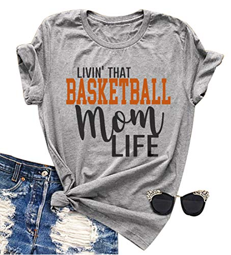 YUYUEYUE Linvin' That Basketball Mom Life T Shirt Women Casual Short Sleeve O Neck Top Tee (Medium, Gray)