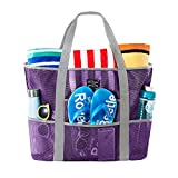SoHo Collection, Mesh Beach Bag – Toy Tote Bag – Large Lightweight Market, Grocery & Picnic Tote with Oversized Pockets (Lavender and Gray)