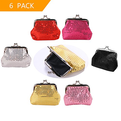 Sparkly Coin Purses  set of 6