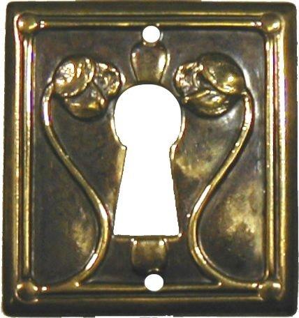 (Antiqued Stamped Brass w/Roses Modern Keyhole Cover Escutcheon Plate - Cabinet, Dresser, Desk Drawers Vintage Old Furniture Restoration Hardware + Free Bonus (Skeleton Key Badge))