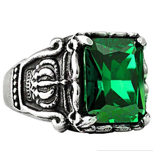 PAURO Men's Stainless Steel Crown Square Cubic Zirconia Ring Vintage Gothic, Green CZ Stone Size 8 - Gents One Stone Ring