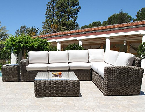 Monte Carlo Premium Outdoor Resin Wicker 6 Piece Sectional Set Made in USA Sunbrella Cushion (choice of 12 fabrics) (Usa Made Patio Furniture)