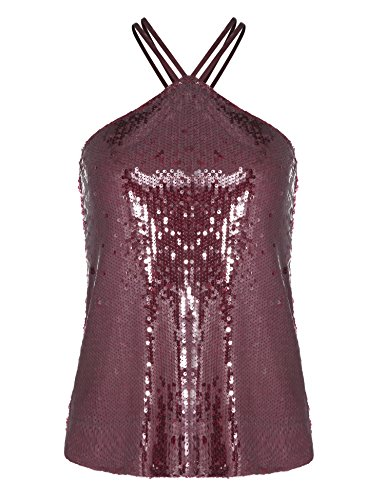 Dealwell Womens Sequin Shimmer Glam Embellished Spaghetti Strap Vest Camisole Tank Top (Wine Red, ()