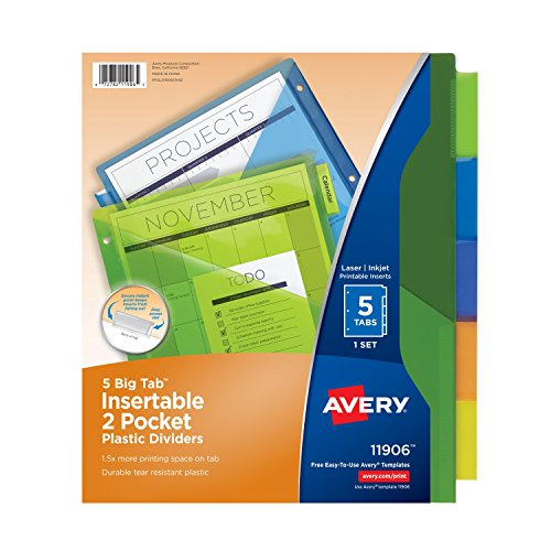 Avery Big Tab  Insertable Two-Pocket Plastic Dividers, 5 Multicolor Tabs, 1 Set (11906)