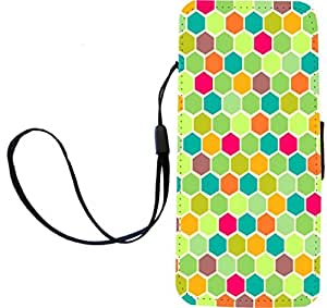 Rikki KnightTM Teal - Green - Pink - Orange Multi Stained Glass Design iPhone Apple 5c PU Leather Wallet Type Flip Case with Magnetic Flap and Wristlet for Apple iPhone 5c