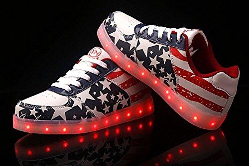 Dayiss Herren Damen LED Schuhe Farbwechsel RGB 7 Farben USB Leuchtschuhe Sneaker Turnschuhe für Abschlussball-Partei Valentinstag Weihnachtsgeschenk Rot
