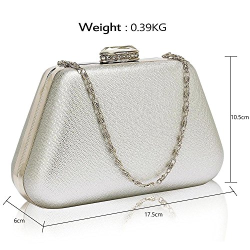 Case design New Designer With Ladies Chain Different Evening 1 Design Womens Silver Box Clutch Handbag Bag Hard Aqfwxf