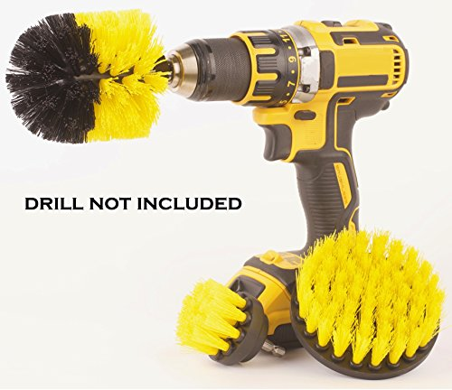 Drill attachment 3 Piece Medium and Stiff brush kit, cleaning time saver for kitchens, bathrooms, showers, tubs, tile, grout, carpet, car tires, boats general-purpose DIY. (Yellow, Nylon)