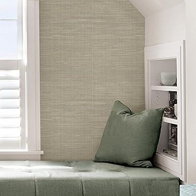 NuWallpaper NU2215 Wheat Grasscloth Peel & Stick Wallpaper, Neutral