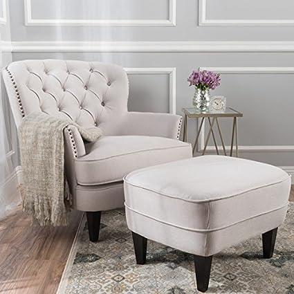 Amazon Com Tafton Tufted Fabric Club Chair With Ottoman By