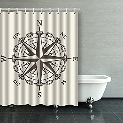 Emvency Shower Curtain Waterproof Wind Rose Vector Illustration Nautical Compass Icon Cotton Sofa With Plastic Hooks Polyester Fabric Adjustable For