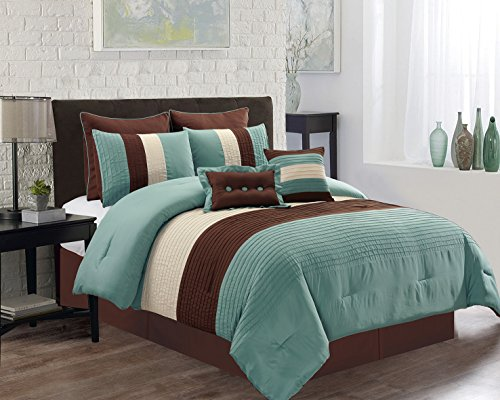 8 Piece FULL Size (Double Bed) LIGHT SILVER BLUE / BROWN / BEIGE Pin Tuck Stripe Regatta Goose Down Alternative Comforter set 88