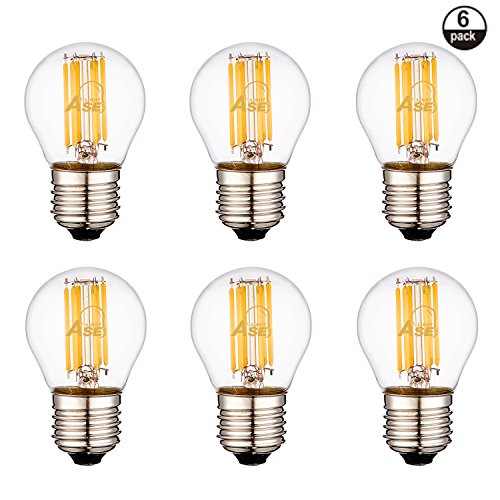 ASELIHGT 6W Dimmable  Edison Style G14(G45) E26 2700K LED Light Bulbs,Clear glass,Led Filament Bulbs, 60 Watt Incandescent Bulbs Replacement, G14(G45) E26 2700K Warm White Bulbs,LED Bulb Lamps,6 Pack - 60w Clear Glass