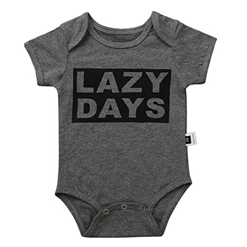 Winsummer Cute Unisex Onesie Lazy Days Stripe Short Sleeve Cotton Comfy Baby Snap Bodysuit Jumpsuit T Shirt Summer Tees Outfit  Gray  6M