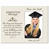 LifeSong Milestones Personalized Graduation gifts for graduate ideas for men and women custom wall cross Be Strong and Courageous Joshua 1:9 (White)