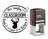 Amazing Personalized School Rubber Stamp. With a Deer Stag Head graphic. Great for Gifts. Brilliant detail, size approx. 1 5/8 x 1 5/8. (38mm x 38mm). 6 Ink Colors available!