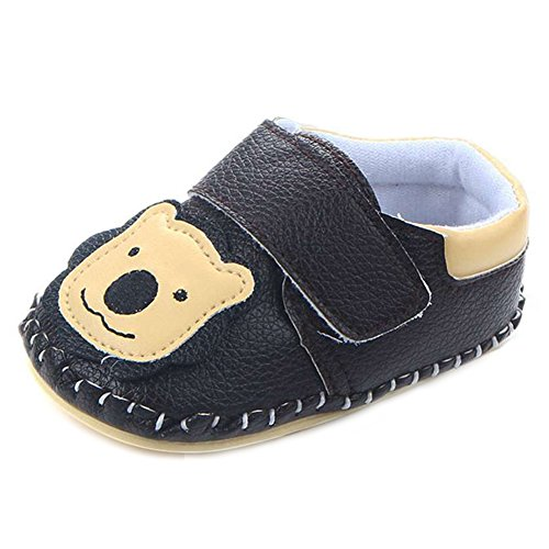 LIDIANO Baby Non Slip Rubber Sole Cartoon Walking Slippers Crib Shoes Infant/Toddler (6-12 Months, Black Lion)
