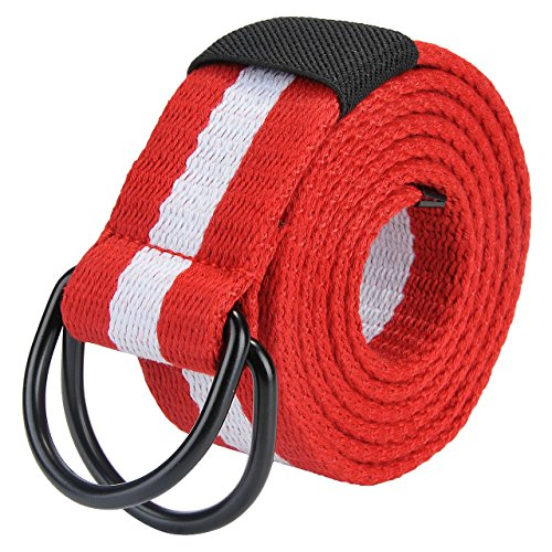 Leather D-ring Belt - Ayliss Mens D Ring Thicken Canvas Webbing Belt PU Leather Tip Military Waistband (Red+White Stripes)