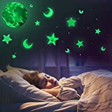 Glow In the Dark Stars & Moon & Earth Wall Stickers – Baby Room Decor Deca Stickers for Simulated Moon Effect at Night – 30 cm Earth and Removable Moon Stars – Gift for Kids Boys Girls