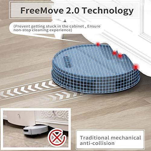 Aspirateur Robot Laveur 3H d'autonomie 4500MAH Aspirateur Robotique Wifi avec 2000Pa d'aspiration, Application Alexa/Google home/Télécommande idéal pour les Poils d'Animaux Tapis ras Lefant-M571 - Home Robots
