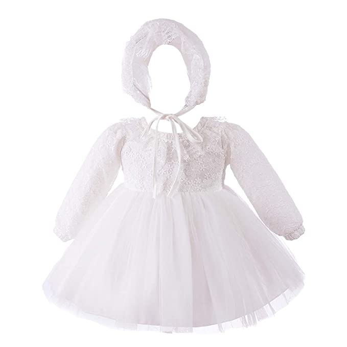 9a91c5fd1 Amazon.com  Baby Girls Long Sleeve Floral Lace Collar Christening ...