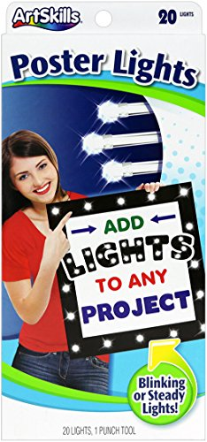 - ArtSkills Poster Lights, Arts and Crafts Supplies, One String of 20 LED Lights, Steady or Flashing, One Hole Punch Tool, Reusable