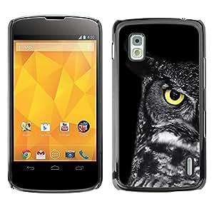 La escuela del profesor del búho inteligente Negro Ojo- Metal de aluminio y de plástico duro Caja del teléfono - Negro - LG Nexus 4 E960