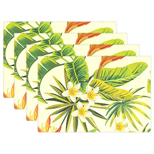Mohado Set of 6 Placemats, Tropical Flowering Plant Placemats for Dining Table, Heat-Resistant Placemats, Stain Resistant Washable Table Mats, Kitchen Table mats