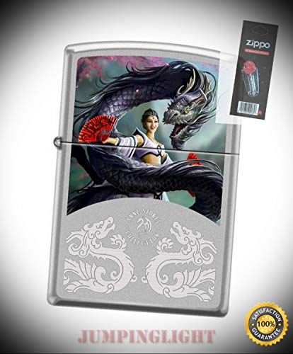 2919 Anne Stokes Woman & Dragon Satin Chrome Finish Lighter with Flint Pack - Premium Lighter Fluid (Comes Unfilled) - Made in USA! ()