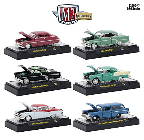 Mercury 1950 Coupe (Auto Thentics 6 Piece Set Release 47 IN DISPLAY CASES 1/64 Diecast Model Cars by M2 Machines 32500-47)
