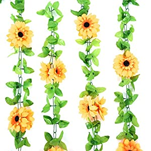 Artificial Hanging Sunflower Vine, Fake Plastic Flower Leaves Plant Wreath for Door Wall Window Wedding Party Decorations 46