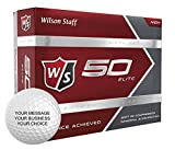 Wilson Staff 50 Elite Personalized Golf Balls - Add Your Own Text (12 Dozen) - White