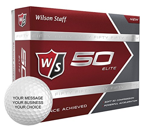 Wilson Staff 50 Elite Personalized Golf Balls - Add Your Own Text (12 Dozen) - White