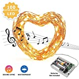 Beilf 32.8ft(10M) Sound Activated Music LED String Lights AA Battery Operated Waterproof - Warm White 100LEDs -11 Modes
