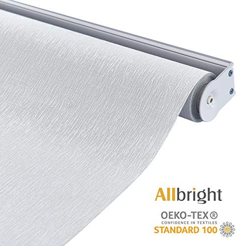 "ALLBRIGHT 100% Blackout Roller Shades for Windows UV Protection Roller Blind Striped Jacquard (White, 47""W x 72""H)"