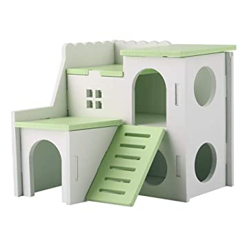 Admirable Heepdd Hamster Hideout House Deluxe Two Layers Wooden Living Hut Small Animal Exercise Funny Nest Play Chews Toys Assembled Villa For Mouse Chinchilla Ocoug Best Dining Table And Chair Ideas Images Ocougorg