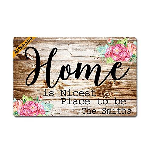 Artsbaba Doormat Home Is Nicest Place To Be Door Mat Monogram Non-Slip Doormat Non-woven Fabric Floor Mat Indoor Entrance Rug Decor Mat 23.6 x 15.7 (Nicest Place)